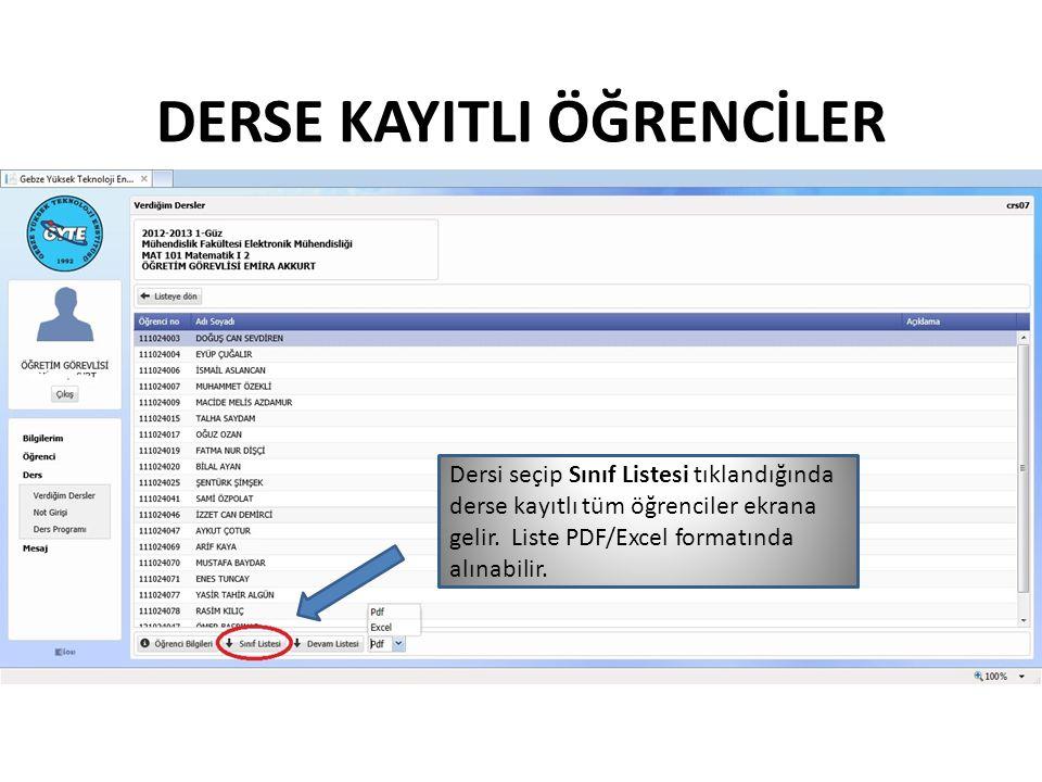 SINIF LİSTESİ