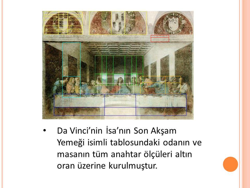 • Da Vinci'nin İsa'nın Son Akşam Yemeği isimli tablosundaki odanın ve masanın tüm anahtar ölçüleri altın oran üzerine kurulmuştur.