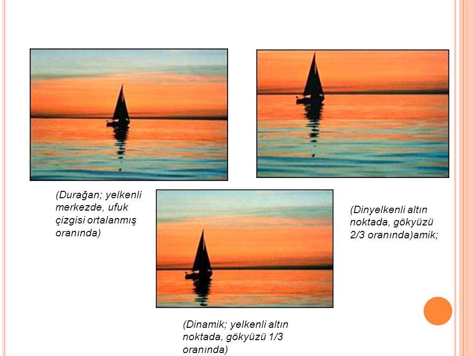 (Durağan; yelkenli merkezde, ufuk çizgisi ortalanmış oranında) (Dinyelkenli altın noktada, gökyüzü 2/3 oranında)amik; (Dinamik; yelkenli altın noktada