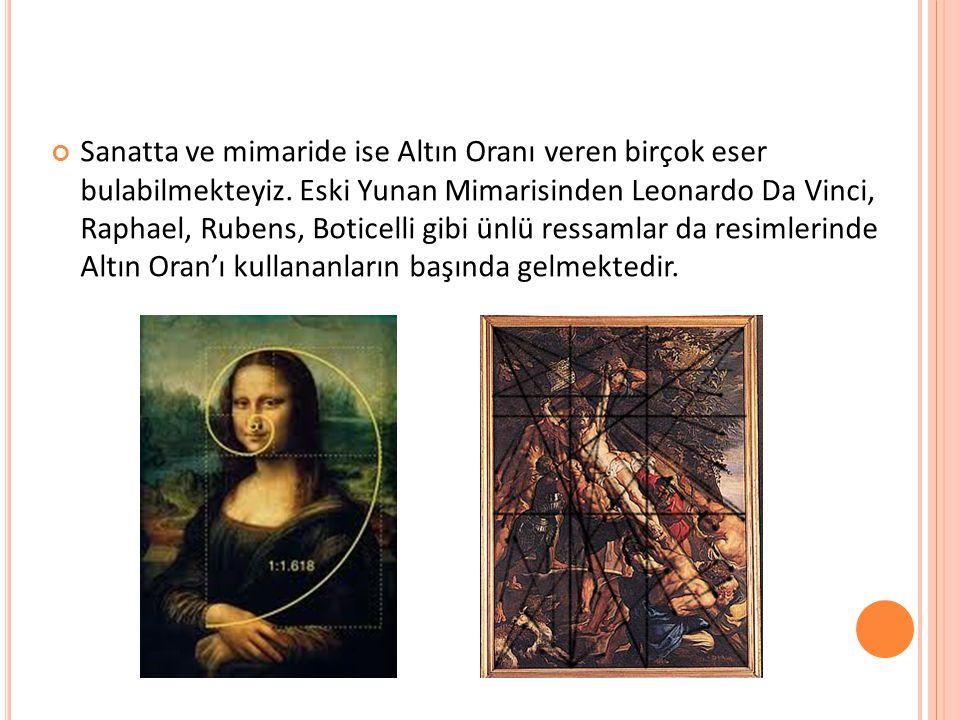 Sanatta ve mimaride ise Altın Oranı veren birçok eser bulabilmekteyiz. Eski Yunan Mimarisinden Leonardo Da Vinci, Raphael, Rubens, Boticelli gibi ünlü
