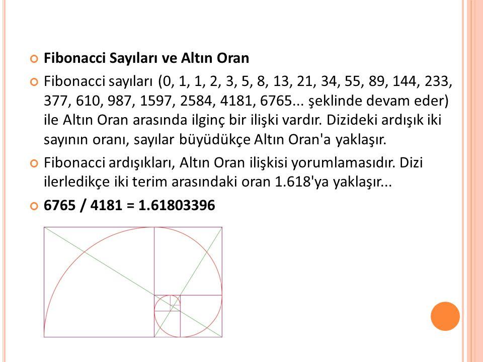 Fibonacci Sayıları ve Altın Oran Fibonacci sayıları (0, 1, 1, 2, 3, 5, 8, 13, 21, 34, 55, 89, 144, 233, 377, 610, 987, 1597, 2584, 4181, 6765...