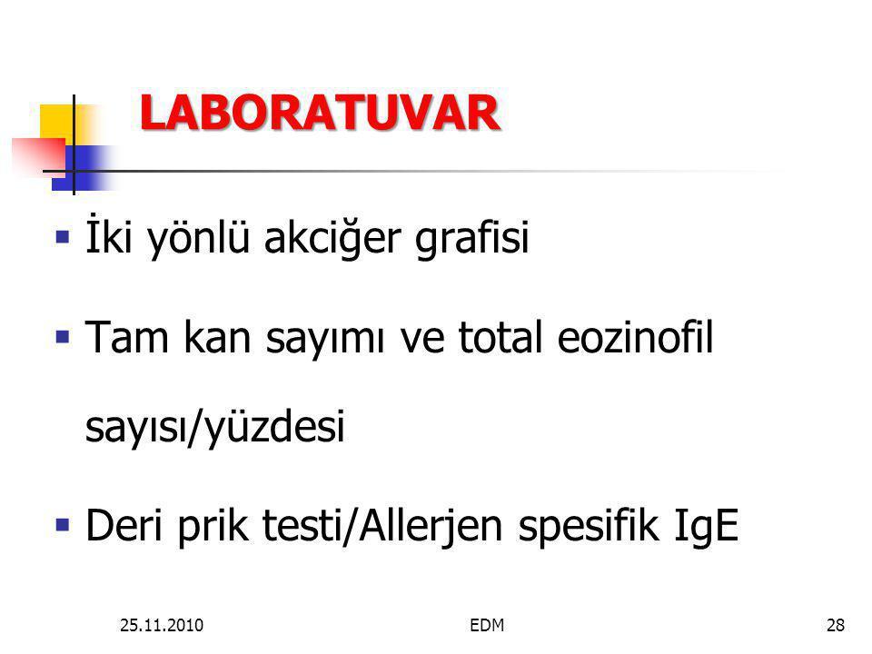 LABORATUVAR  İki yönlü akciğer grafisi  Tam kan sayımı ve total eozinofil sayısı/yüzdesi  Deri prik testi/Allerjen spesifik IgE 28EDM25.11.2010