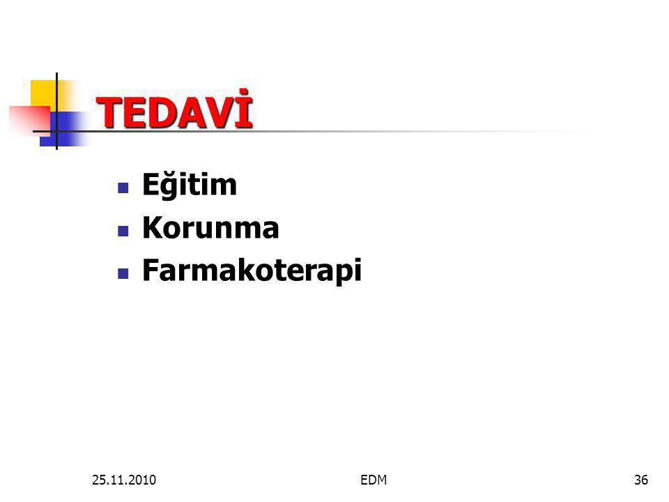 TEDAVİ  Eğitim  Korunma  Farmakoterapi 36EDM25.11.2010