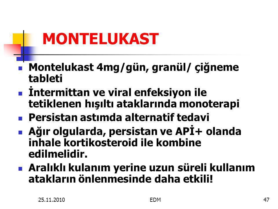MONTELUKAST  Montelukast 4mg/gün, granül/ çiğneme tableti  İntermittan ve viral enfeksiyon ile tetiklenen hışıltı ataklarında monoterapi  Persistan