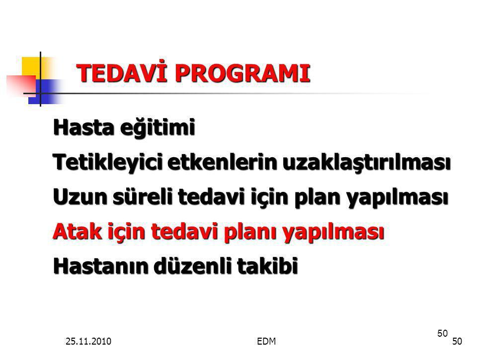 50 TEDAVİ PROGRAMI Hasta eğitimi Tetikleyici etkenlerin uzaklaştırılması Uzun süreli tedavi için plan yapılması Atak için tedavi planı yapılması Hasta