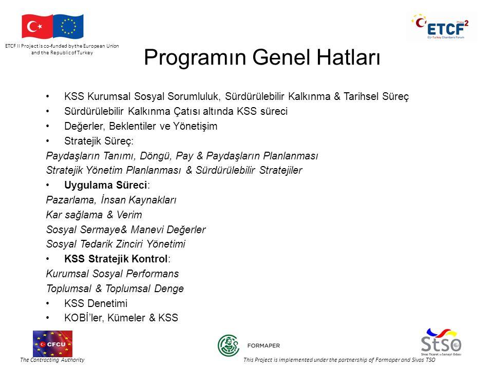 ETCF II Project is co-funded by the European Union and the Republic of Turkey The Contracting Authority This Project is implemented under the partnership of Formaper and Sivas TSO Programın Genel Hatları •KSS Kurumsal Sosyal Sorumluluk, Sürdürülebilir Kalkınma & Tarihsel Süreç •Sürdürülebilir Kalkınma Çatısı altında KSS süreci •Değerler, Beklentiler ve Yönetişim •Stratejik Süreç: Paydaşların Tanımı, Döngü, Pay & Paydaşların Planlanması Stratejik Yönetim Planlanması & Sürdürülebilir Stratejiler •Uygulama Süreci: Pazarlama, İnsan Kaynakları Kar sağlama & Verim Sosyal Sermaye& Manevi Değerler Sosyal Tedarik Zinciri Yönetimi •KSS Stratejik Kontrol: Kurumsal Sosyal Performans Toplumsal & Toplumsal Denge •KSS Denetimi •KOBİ'ler, Kümeler & KSS