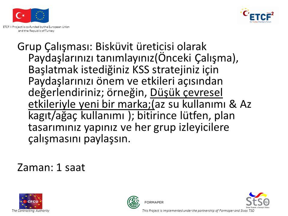 ETCF II Project is co-funded by the European Union and the Republic of Turkey The Contracting Authority This Project is implemented under the partnership of Formaper and Sivas TSO Grup Çalışması: Bisküvit üreticisi olarak Paydaşlarınızı tanımlayınız(Önceki Çalışma), Başlatmak istediğiniz KSS stratejiniz için Paydaşlarınızı önem ve etkileri açısından değerlendiriniz; örneğin, Düşük çevresel etkileriyle yeni bir marka;(az su kullanımı & Az kagıt/ağaç kullanımı ); bitirince lütfen, plan tasarımınız yapınız ve her grup izleyicilere çalışmasını paylaşsın.