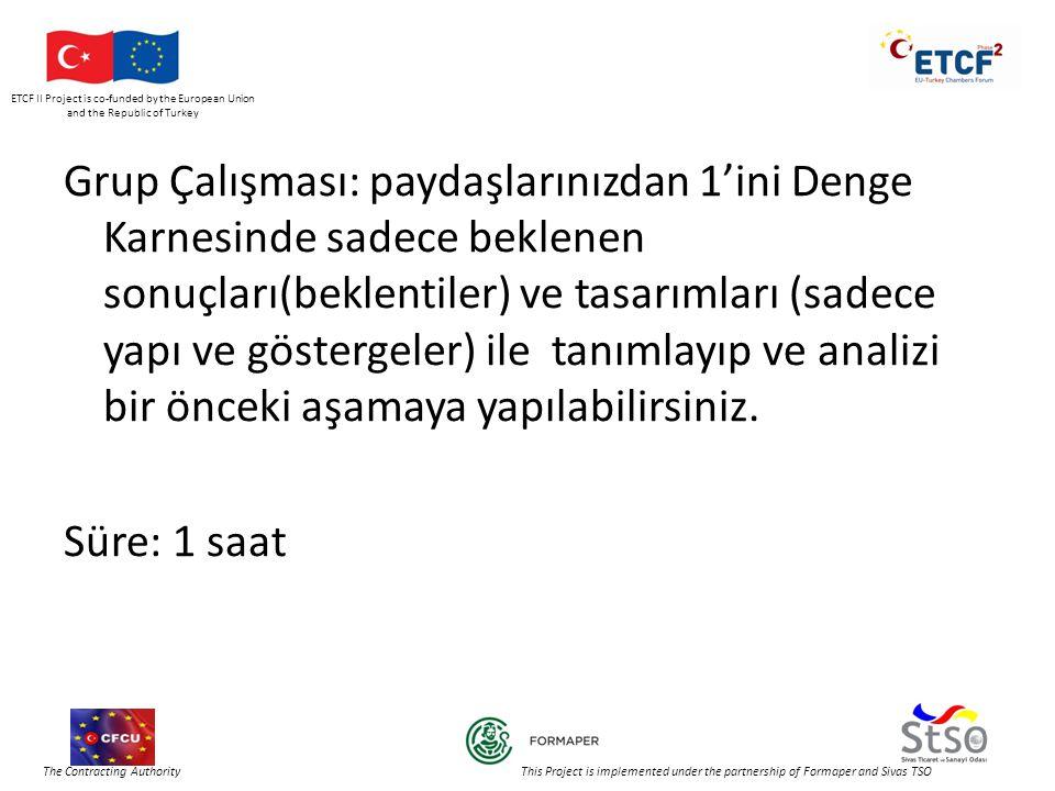ETCF II Project is co-funded by the European Union and the Republic of Turkey The Contracting Authority This Project is implemented under the partnership of Formaper and Sivas TSO Grup Çalışması: paydaşlarınızdan 1'ini Denge Karnesinde sadece beklenen sonuçları(beklentiler) ve tasarımları (sadece yapı ve göstergeler) ile tanımlayıp ve analizi bir önceki aşamaya yapılabilirsiniz.