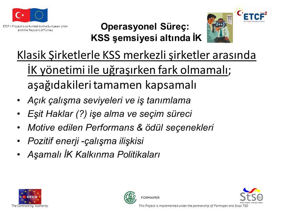 ETCF II Project is co-funded by the European Union and the Republic of Turkey The Contracting Authority This Project is implemented under the partnership of Formaper and Sivas TSO Operasyonel Süreç: KSS şemsiyesi altında İK Klasik Şirketlerle KSS merkezli şirketler arasında İK yönetimi ile uğraşırken fark olmamalı; aşağıdakileri tamamen kapsamalı •Açık çalışma seviyeleri ve iş tanımlama •Eşit Haklar ( ) işe alma ve seçim süreci •Motive edilen Performans & ödül seçenekleri •Pozitif enerji -çalışma ilişkisi •Aşamalı İK Kalkınma Politikaları