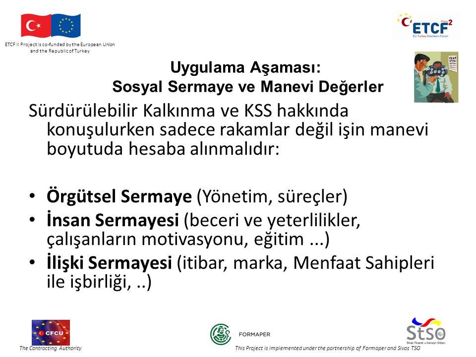 ETCF II Project is co-funded by the European Union and the Republic of Turkey The Contracting Authority This Project is implemented under the partnership of Formaper and Sivas TSO Uygulama Aşaması: Sosyal Sermaye ve Manevi Değerler Sürdürülebilir Kalkınma ve KSS hakkında konuşulurken sadece rakamlar değil işin manevi boyutuda hesaba alınmalıdır: • Örgütsel Sermaye (Yönetim, süreçler) • İnsan Sermayesi (beceri ve yeterlilikler, çalışanların motivasyonu, eğitim...) • İlişki Sermayesi (itibar, marka, Menfaat Sahipleri ile işbirliği,..)