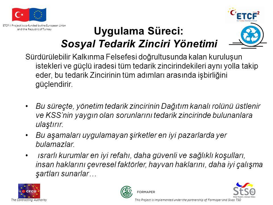 ETCF II Project is co-funded by the European Union and the Republic of Turkey The Contracting Authority This Project is implemented under the partnership of Formaper and Sivas TSO Uygulama Süreci: Sosyal Tedarik Zinciri Yönetimi Sürdürülebilir Kalkınma Felsefesi doğrultusunda kalan kuruluşun istekleri ve güçlü iradesi tüm tedarik zincirindekileri aynı yolla takip eder, bu tedarik Zincirinin tüm adımları arasında işbirliğini güçlendirir.
