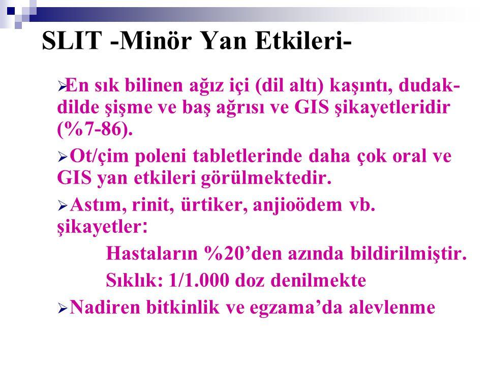 SLIT -Major Yan Etkileri-  Bu güne kadar 4378 hasta ve 1 milyon dozdan fazla kullanılmış fakat sadece 4 kişide anafilaksi bildirilmiştir.