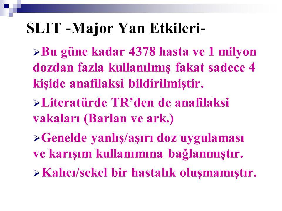SLIT -Major Yan Etkileri-  Bu güne kadar 4378 hasta ve 1 milyon dozdan fazla kullanılmış fakat sadece 4 kişide anafilaksi bildirilmiştir.  Literatür
