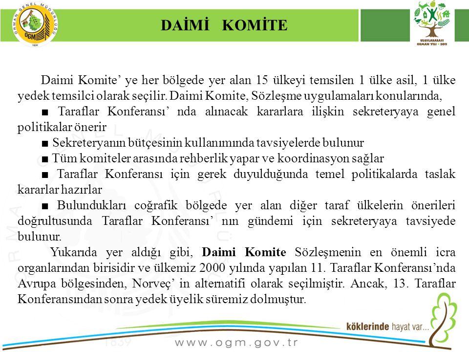16/12/2010 Kurumsal Kimlik 11 Daimi Komite' ye her bölgede yer alan 15 ülkeyi temsilen 1 ülke asil, 1 ülke yedek temsilci olarak seçilir. Daimi Komite