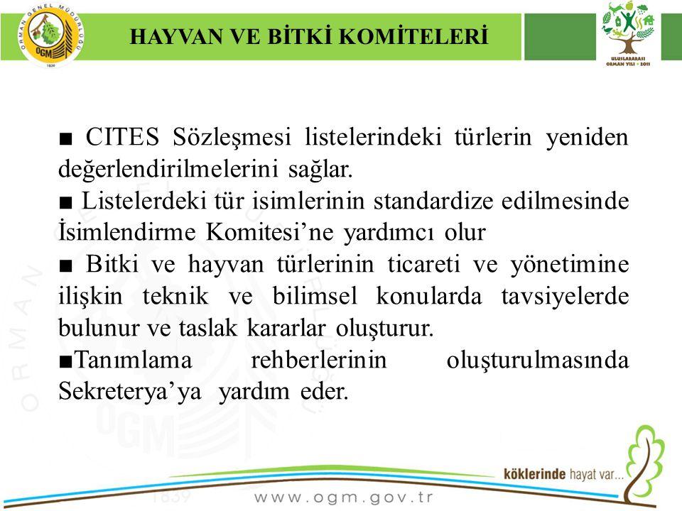 16/12/2010 Kurumsal Kimlik 12 ■ CITES Sözleşmesi listelerindeki türlerin yeniden değerlendirilmelerini sağlar.