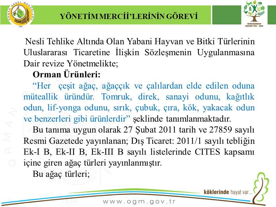 16/12/2010 Kurumsal Kimlik 22 Nesli Tehlike Altında Olan Yabani Hayvan ve Bitki Türlerinin Uluslararası Ticaretine İlişkin Sözleşmenin Uygulanmasına D