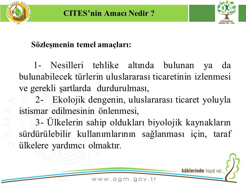 16/12/2010 Kurumsal Kimlik 4 Sözleşmenin temel amaçları: 1- Nesilleri tehlike altında bulunan ya da bulunabilecek türlerin uluslararası ticaretinin iz