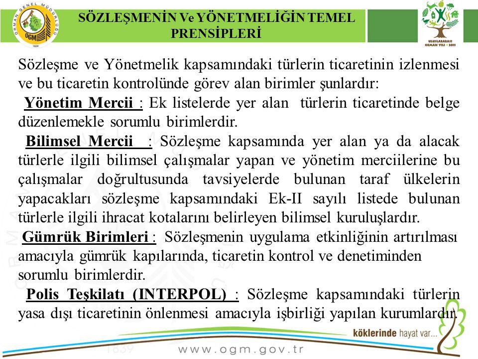 16/12/2010 Kurumsal Kimlik 5 Sözleşme ve Yönetmelik kapsamındaki türlerin ticaretinin izlenmesi ve bu ticaretin kontrolünde görev alan birimler şunlar