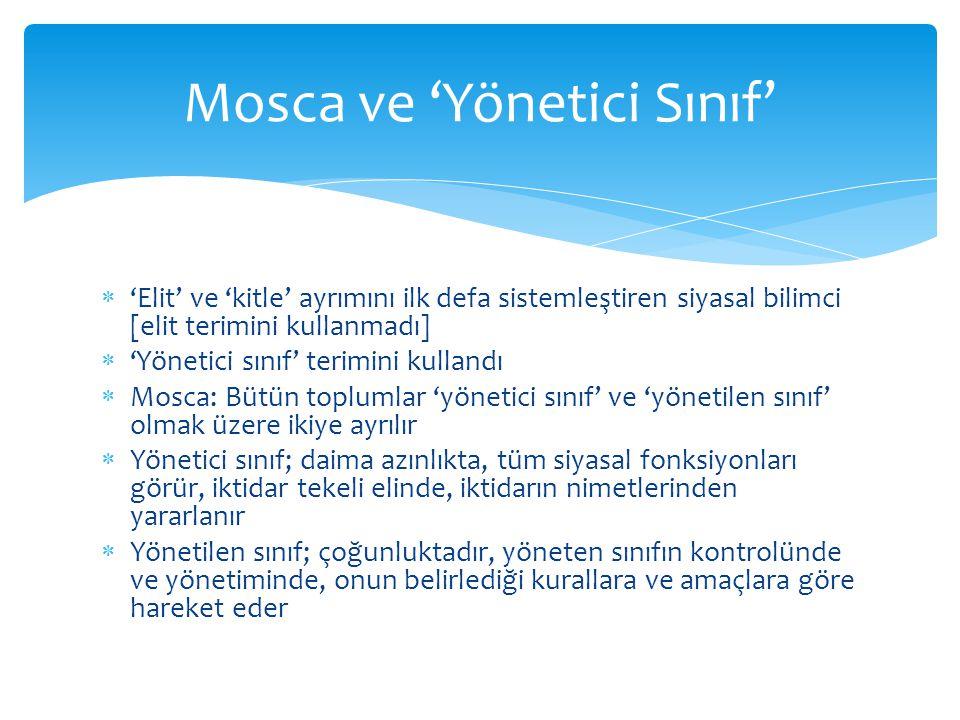  'Elit' ve 'kitle' ayrımını ilk defa sistemleştiren siyasal bilimci [elit terimini kullanmadı]  'Yönetici sınıf' terimini kullandı  Mosca: Bütün to