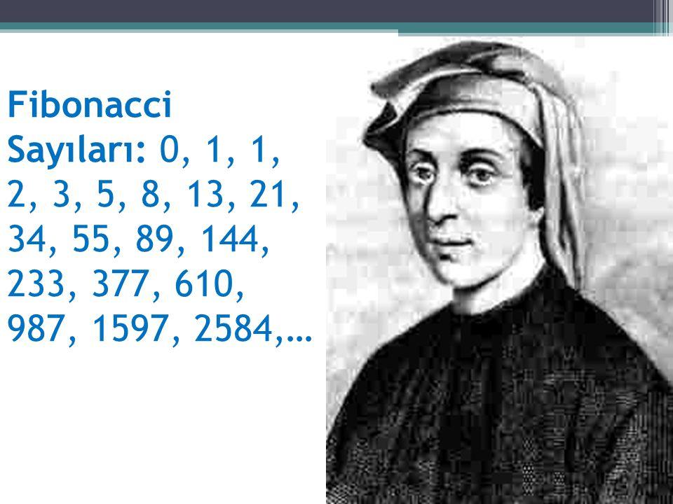 Fibonacci Sayıları: 0, 1, 1, 2, 3, 5, 8, 13, 21, 34, 55, 89, 144, 233, 377, 610, 987, 1597, 2584,…
