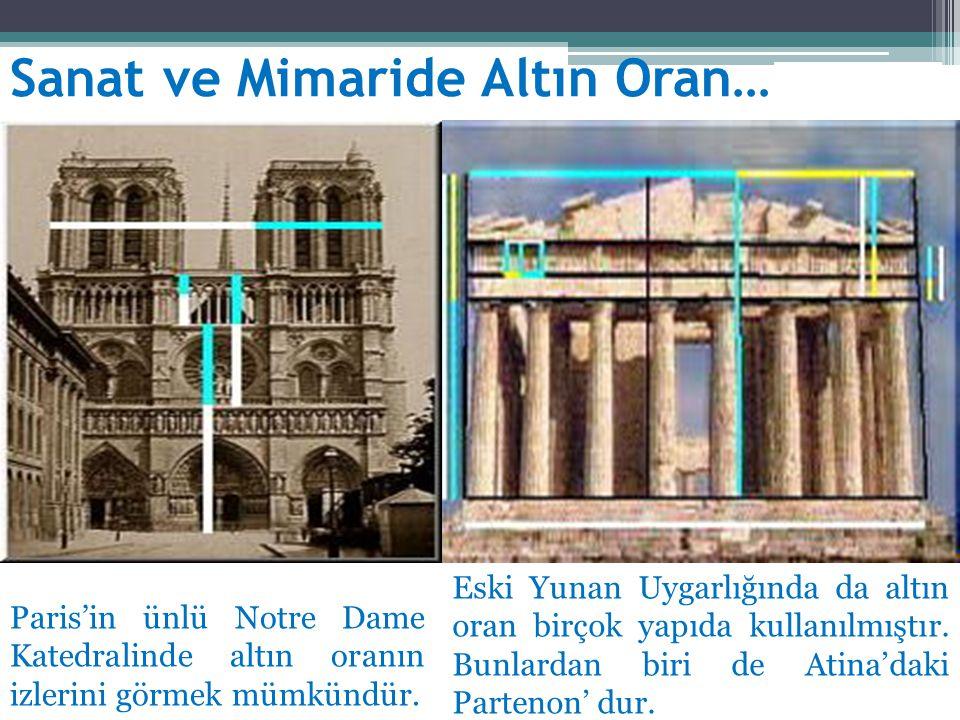 Sanat ve Mimaride Altın Oran… Eski Yunan Uygarlığında da altın oran birçok yapıda kullanılmıştır. Bunlardan biri de Atina'daki Partenon' dur. Paris'in