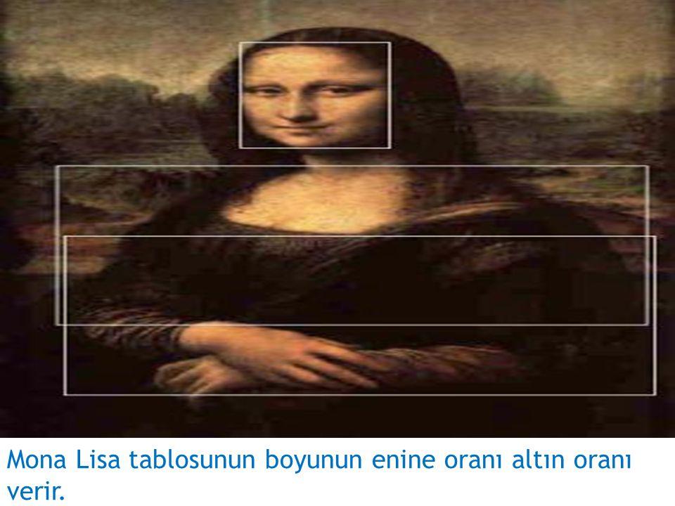 Mona Lisa tablosunun boyunun enine oranı altın oranı verir.