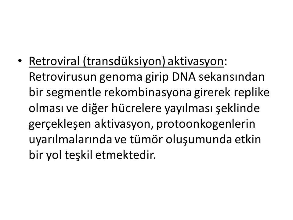 • Retroviral (transdüksiyon) aktivasyon: Retrovirusun genoma girip DNA sekansından bir segmentle rekombinasyona girerek replike olması ve diğer hücrel