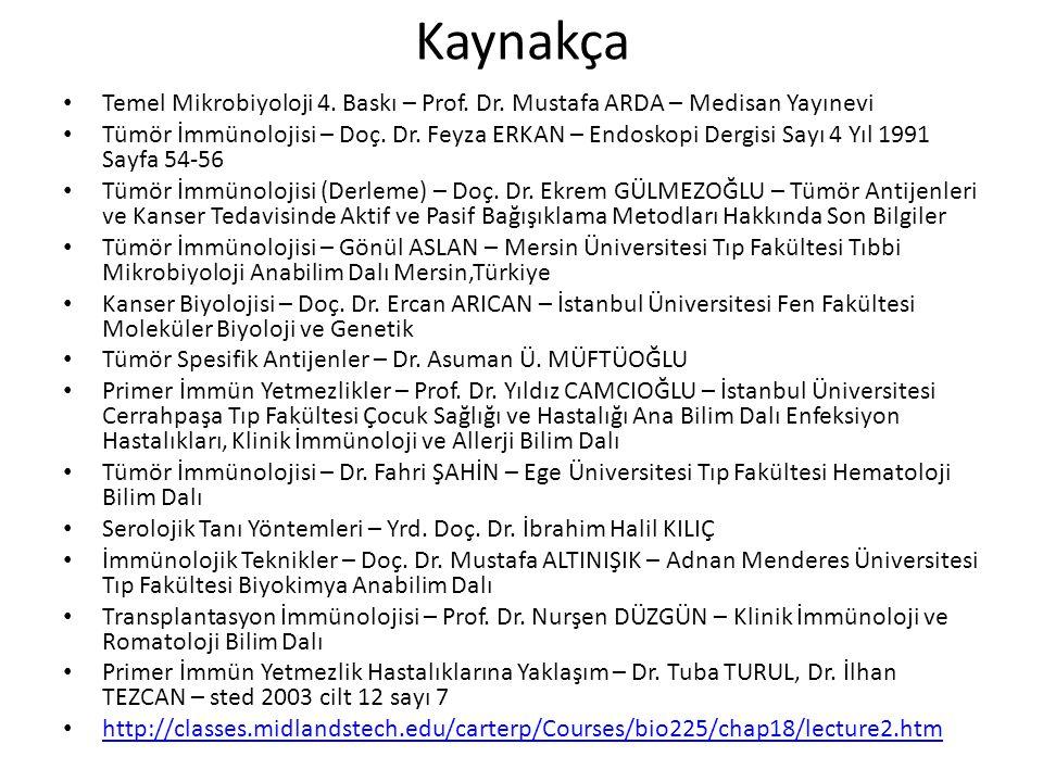 Kaynakça • Temel Mikrobiyoloji 4. Baskı – Prof. Dr. Mustafa ARDA – Medisan Yayınevi • Tümör İmmünolojisi – Doç. Dr. Feyza ERKAN – Endoskopi Dergisi Sa