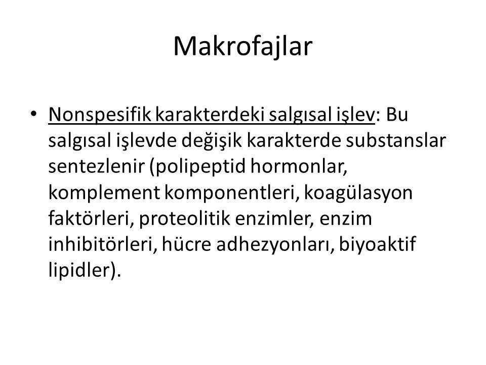 Makrofajlar • Nonspesifik karakterdeki salgısal işlev: Bu salgısal işlevde değişik karakterde substanslar sentezlenir (polipeptid hormonlar, komplemen