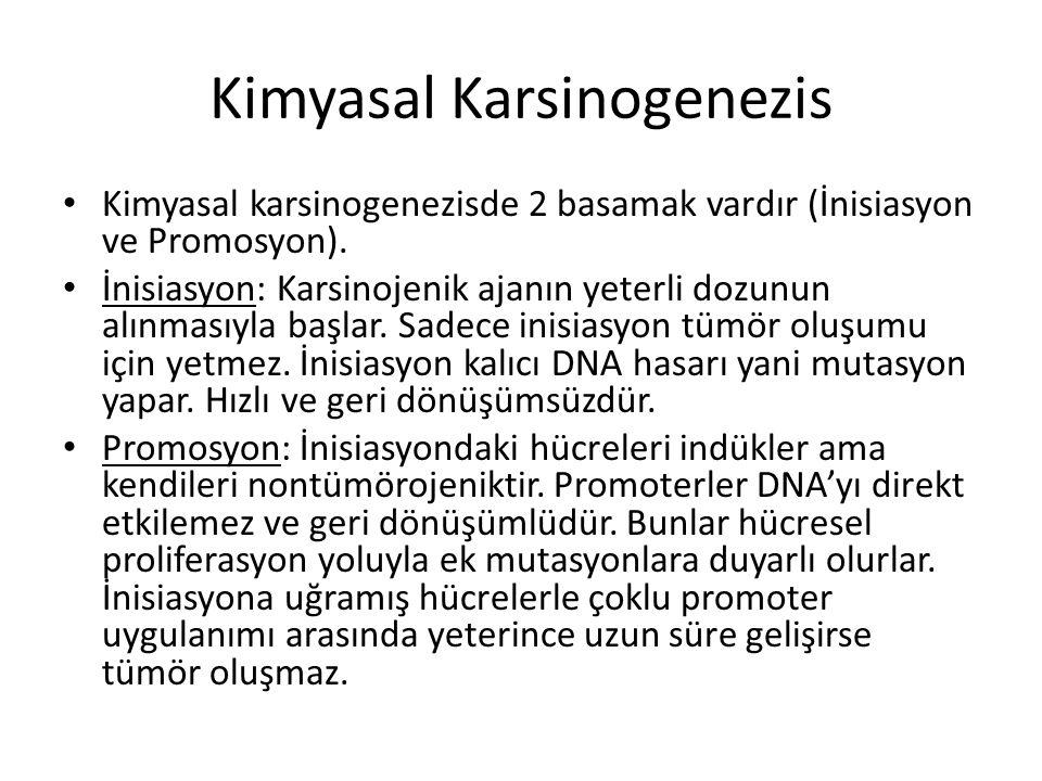 Kimyasal Karsinogenezis • Kimyasal karsinogenezisde 2 basamak vardır (İnisiasyon ve Promosyon). • İnisiasyon: Karsinojenik ajanın yeterli dozunun alın