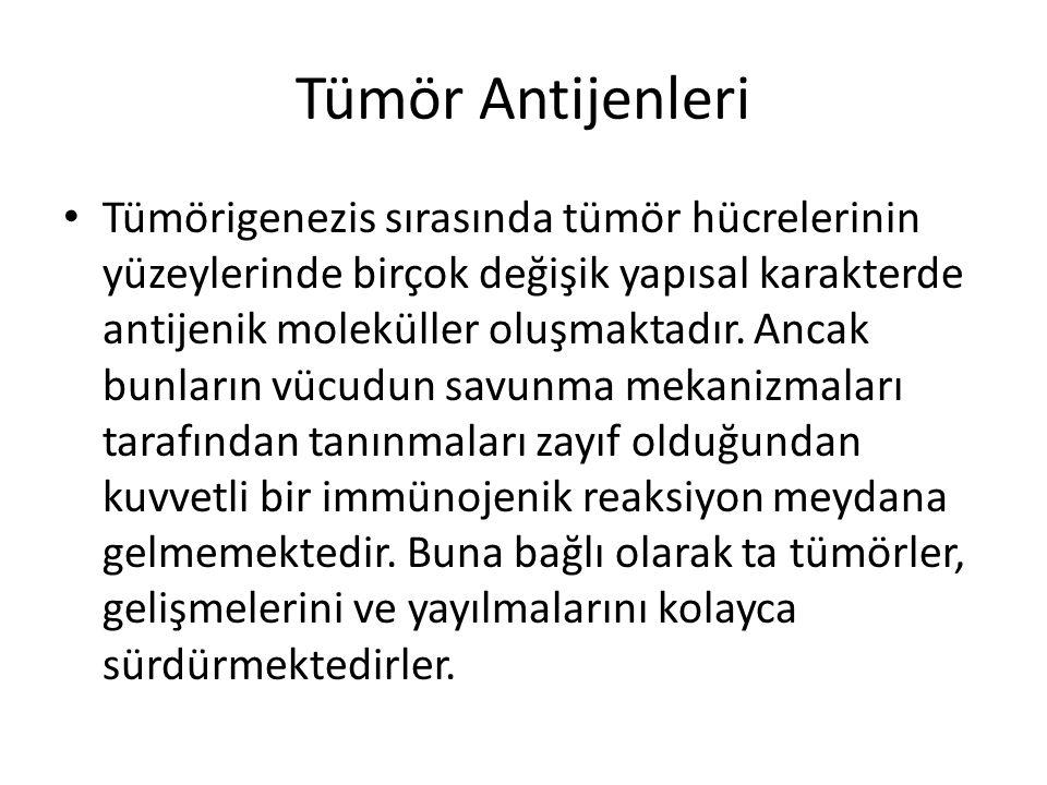Tümör Antijenleri • Tümörigenezis sırasında tümör hücrelerinin yüzeylerinde birçok değişik yapısal karakterde antijenik moleküller oluşmaktadır. Ancak