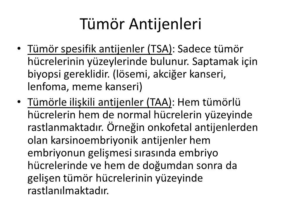 Tümör Antijenleri • Tümör spesifik antijenler (TSA): Sadece tümör hücrelerinin yüzeylerinde bulunur. Saptamak için biyopsi gereklidir. (lösemi, akciğe