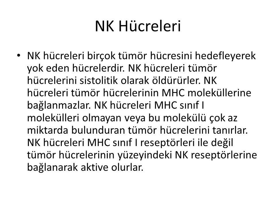 NK Hücreleri • NK hücreleri birçok tümör hücresini hedefleyerek yok eden hücrelerdir. NK hücreleri tümör hücrelerini sistolitik olarak öldürürler. NK