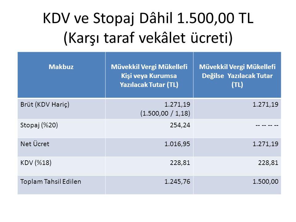 KDV ve Stopaj Dâhil 1.500,00 TL (Karşı taraf vekâlet ücreti) MakbuzMüvekkil Vergi Mükellefi Kişi veya Kurumsa Yazılacak Tutar (TL) Müvekkil Vergi Müke