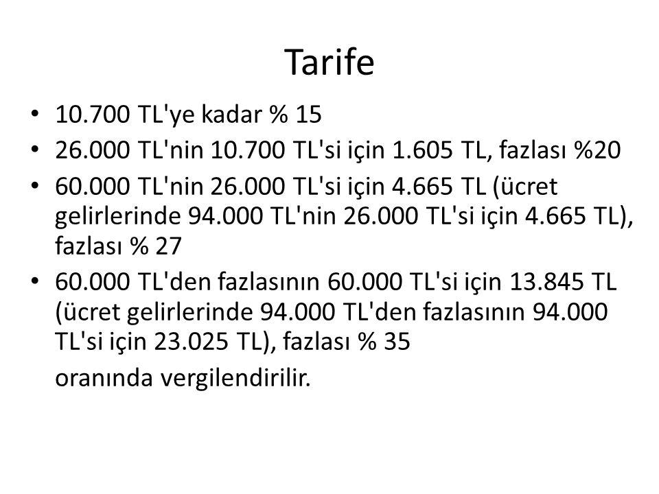 Tarife • 10.700 TL'ye kadar % 15 • 26.000 TL'nin 10.700 TL'si için 1.605 TL, fazlası %20 • 60.000 TL'nin 26.000 TL'si için 4.665 TL (ücret gelirlerind