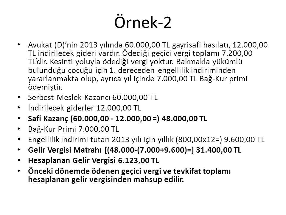 Örnek-2 • Avukat (D)'nin 2013 yılında 60.000,00 TL gayrisafi hasılatı, 12.000,00 TL indirilecek gideri vardır. Ödediği geçici vergi toplamı 7.200,00 T