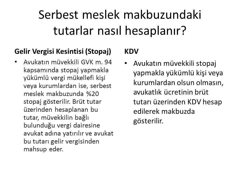 Ankara Vergi Dairesi Başkanlığı 24/05/2008, GVK-61-28 • Karşı taraf aleyhine hükmedilen vekâlet ücreti ödemesi yapan borçlunun vergi mükellefi olmaması veya herhangi bir nedenle tevkifat yapılmadan ödemede bulunulması halinde elde edilen serbest meslek kazancı avukat tarafından verilen yıllık beyannamede vergilendirilecektir.