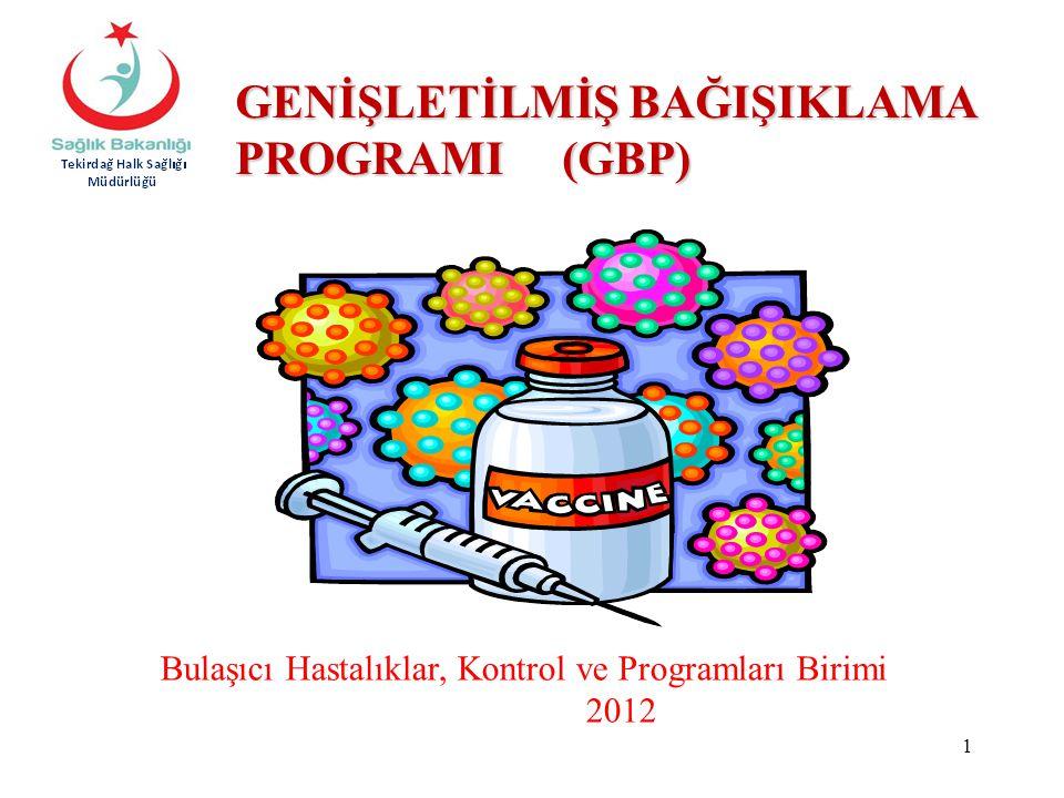 Bulaşıcı Hastalıklar, Kontrol ve Programları Birimi 2012 GENİŞLETİLMİŞ BAĞIŞIKLAMA PROGRAMI (GBP) 1