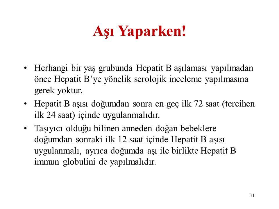 Aşı Yaparken! •Herhangi bir yaş grubunda Hepatit B aşılaması yapılmadan önce Hepatit B'ye yönelik serolojik inceleme yapılmasına gerek yoktur. •Hepati
