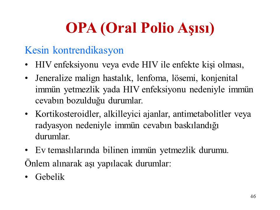 OPA (Oral Polio Aşısı) Kesin kontrendikasyon •HIV enfeksiyonu veya evde HIV ile enfekte kişi olması, •Jeneralize malign hastalık, lenfoma, lösemi, kon