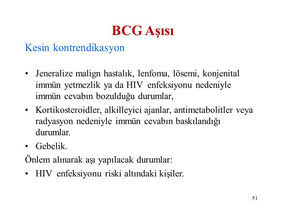 BCG Aşısı Kesin kontrendikasyon •Jeneralize malign hastalık, lenfoma, lösemi, konjenital immün yetmezlik ya da HIV enfeksiyonu nedeniyle immün cevabın