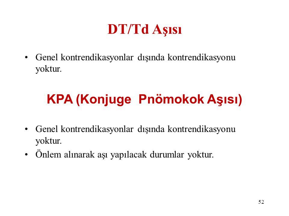 DT/Td Aşısı •Genel kontrendikasyonlar dışında kontrendikasyonu yoktur. KPA (Konjuge Pnömokok Aşısı) •Genel kontrendikasyonlar dışında kontrendikasyonu