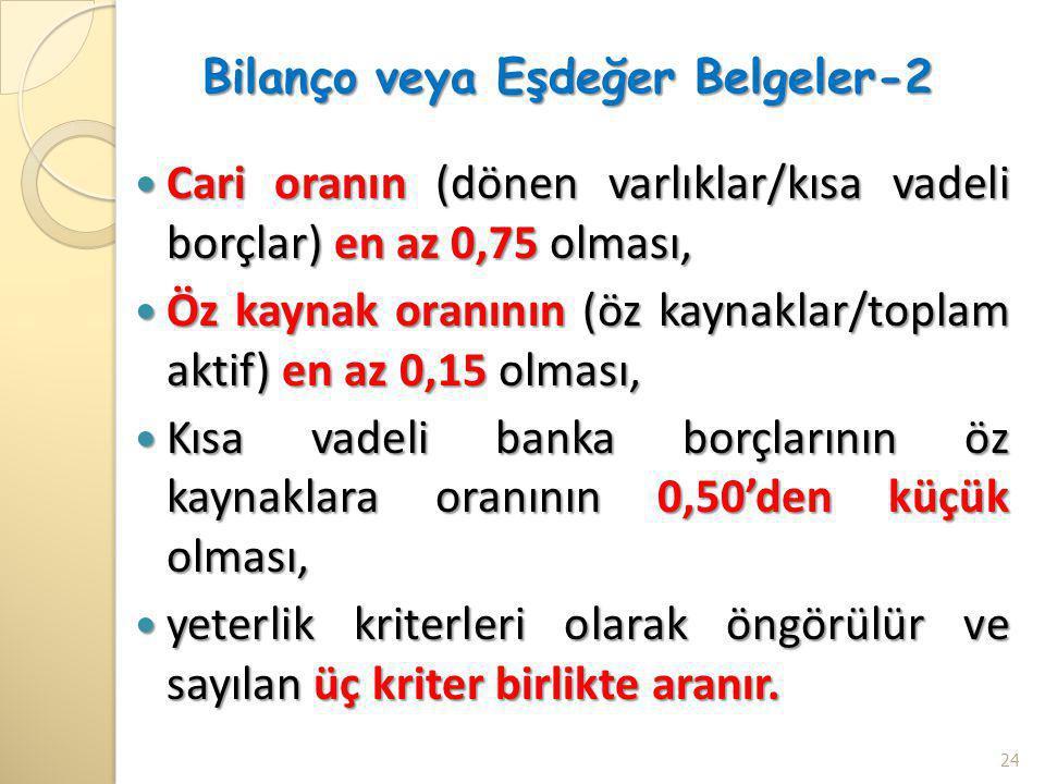 Bilanço veya Eşdeğer Belgeler-2  Cari oranın (dönen varlıklar/kısa vadeli borçlar) en az 0,75 olması,  Öz kaynak oranının (öz kaynaklar/toplam aktif