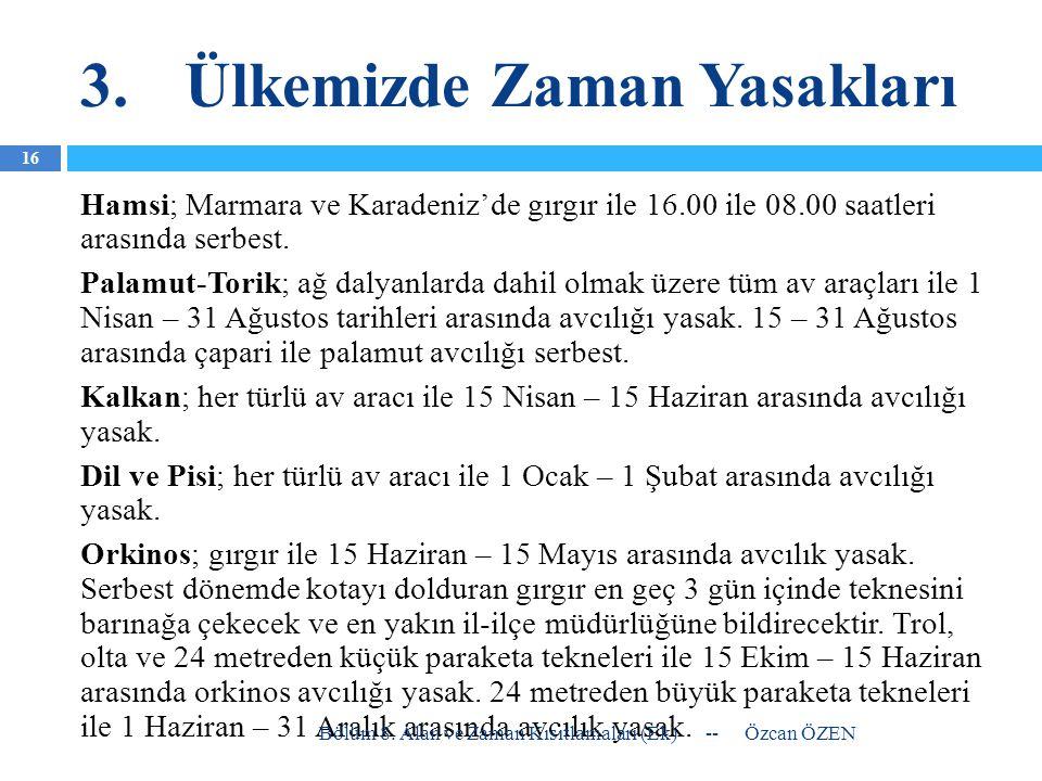 3.Ülkemizde Zaman Yasakları Hamsi; Marmara ve Karadeniz'de gırgır ile 16.00 ile 08.00 saatleri arasında serbest. Palamut-Torik; ağ dalyanlarda dahil o