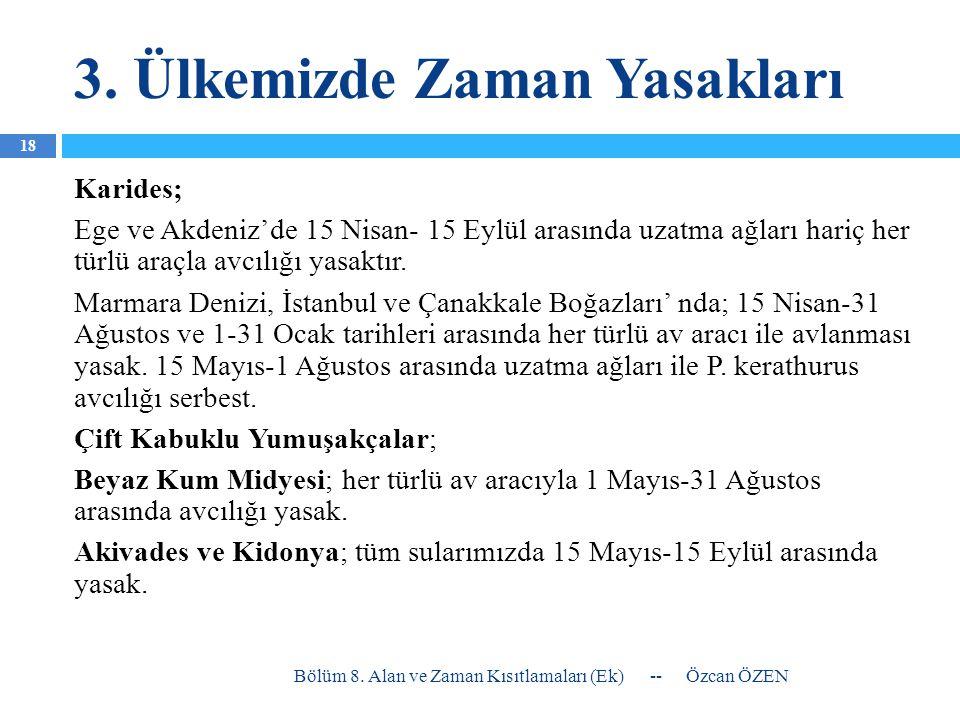 3. Ülkemizde Zaman Yasakları Karides; Ege ve Akdeniz'de 15 Nisan- 15 Eylül arasında uzatma ağları hariç her türlü araçla avcılığı yasaktır. Marmara De
