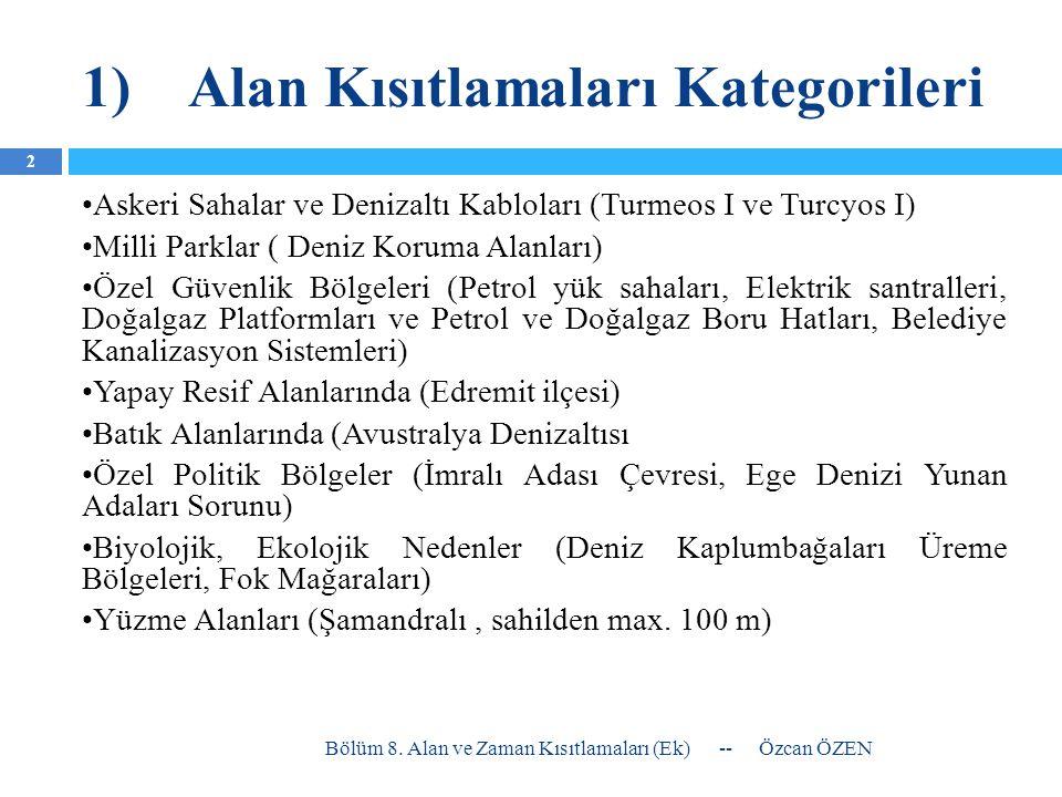 1) Alan Kısıtlamaları Kategorileri •Komşu Ülke Sınırları •Av Araçlarına Yönelik Alan Yasakları ((Marmara Denizi'nde, Boğaz'larda ve İç Sularda Trol, Karadeniz haricinde Orta su Trolü; Kıyı Sürütme Ağları (Iğrıp, Trata, Manyat (Marmara'da karides manyatı hariç), Tarlakoz) ile tüm denizlerde avcılık yasak)) •Balık Çiftlikleri ( 300 m yakınında ışıkla avcılık yasak) •Tatlısuların Denizlere döküldüğü bazı alanlarda (Trabzon, derenin sağ ve sol yanında 1 km denizde doğru 500 m.) •Devlet Teşebbüsünde Olan Alanlar ( Akdeniz Araştırma İst.