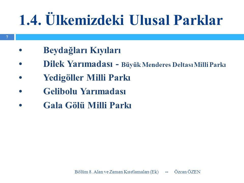 1.4. Ülkemizdeki Ulusal Parklar •Beydağları Kıyıları •Dilek Yarımadası - Büyük Menderes Deltası Milli Parkı •Yedigöller Milli Parkı •Gelibolu Yarımada