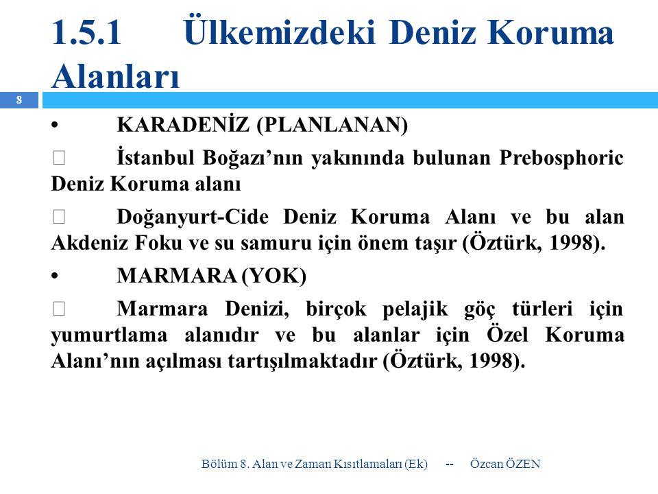 1.5.1Ülkemizdeki Deniz Koruma Alanları •KARADENİZ (PLANLANAN)  İstanbul Boğazı'nın yakınında bulunan Prebosphoric Deniz Koruma alanı  Doğanyurt-Cide