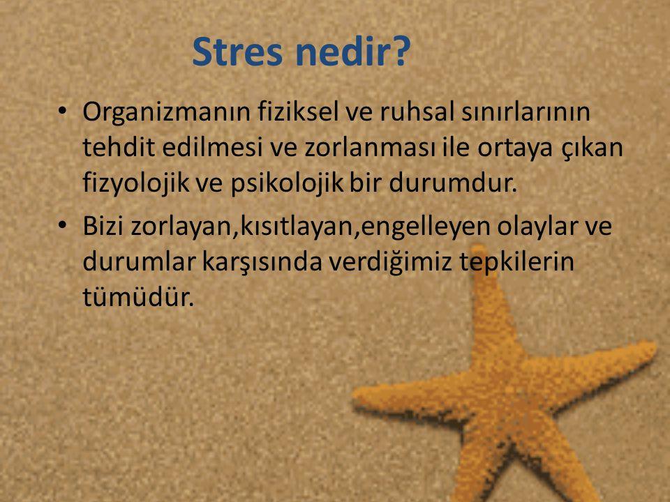 Stres Altında İnsanların Yaptığı En Sık Yanlışlar • -Uygun olmayan durumlarda ortaya çıkan öfke, düşmanlık ve kızgınlık dalgaları, • -Sigara ve içki içme eğiliminin artması, • -Kişisel hata ve başarısızlıkları sürekli düşünmek, • -Ara sıra hayal kurmak, sık sık düşünceye dalıp gitmek,