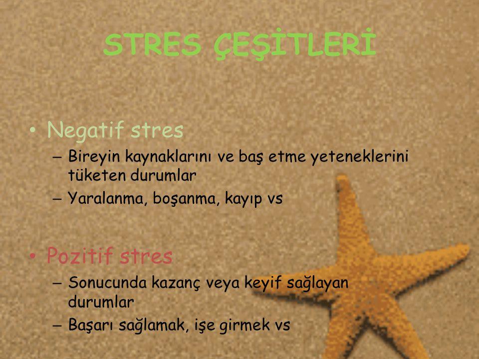 STRES ÇEŞİTLERİ • Negatif stres – Bireyin kaynaklarını ve baş etme yeteneklerini tüketen durumlar – Yaralanma, boşanma, kayıp vs • Pozitif stres – Sonucunda kazanç veya keyif sağlayan durumlar – Başarı sağlamak, işe girmek vs